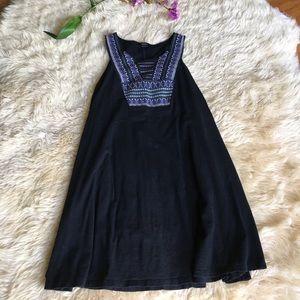 Black Embroidered Sleeveless Swing Tunic
